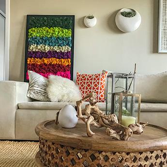 Luludi Living Art Moss Wall Art Modern Stripes
