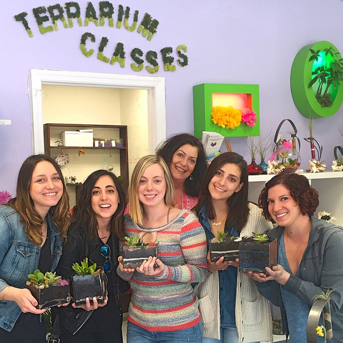 Group from terrarium class with their mini worlds