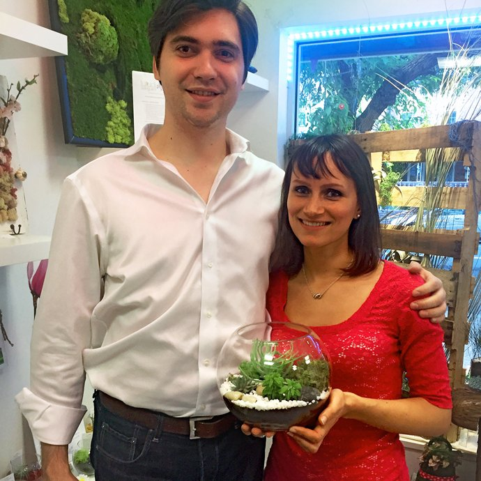 Couple with their terrarium from Date Nite